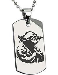 Acero Inoxidable Star Wars Yoda Grabado Placa de Identificación del Colgante