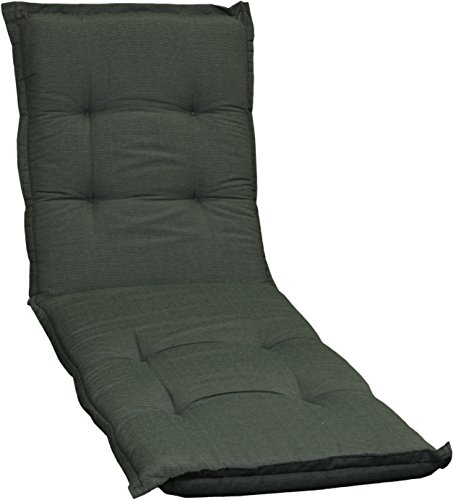 Gartenstuhlauflage Sitzkissen Polster für Gartenliegen in dunkelgrün Strukturiert Premium Bezug...