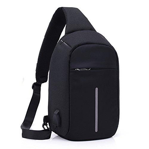 Preisvergleich Produktbild Estwell USB Schultertaschen,  Herren Damen Sling Rucksack Brusttasche Umhängetasche Daypack für Outdoorsport,  Wandern,  Radfahren,  Reisen,  Schule