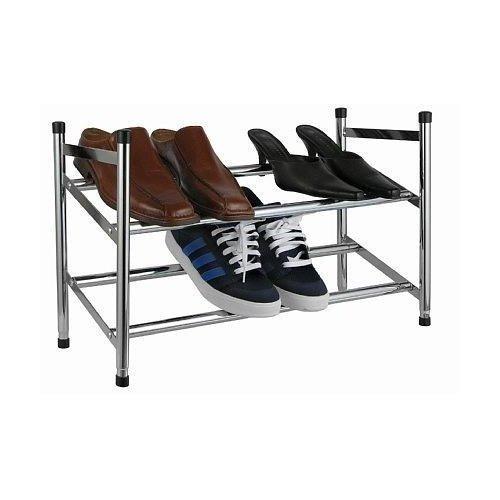 Design SCHUHREGAL mit 2 Etagen - Ausziehbar für bis zu 12 Paar Schuhe - Stapelbar und Robust (Stapelbare Schuhregal)