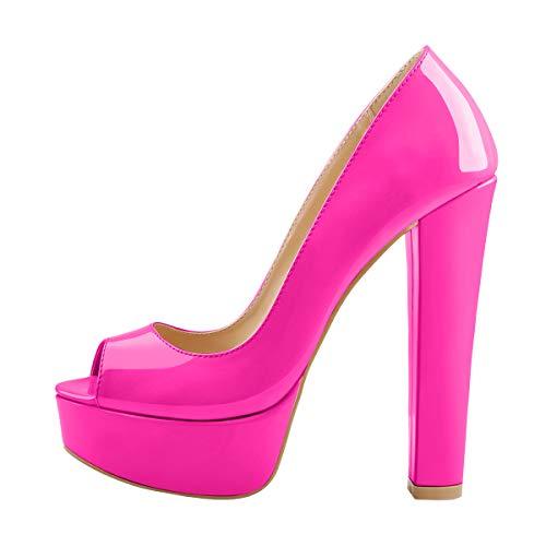 Onlymaker Damen Peeptoes Elegante Plateau Pumps Blockabsatz High Heels mit Lack Optik Pink 45 EU
