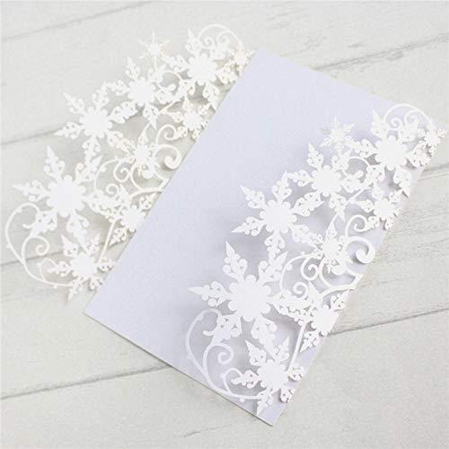 ZheQR Snowflake Wedding Invitation Marriage Quinceanera Bridal Shower Invitation Supply Customized Printing 50pcs/Lot,White,Customized Printing