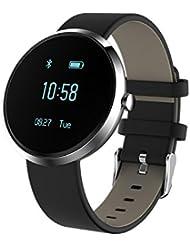 KOBWA Pulsera de Actividad con Pulsómetro, Tensiometro, Monitor de Sueño, Podómetro, Monitor de Calorías,Monitor de Actividad y Bluetooth, Impermeable Pulsera Inteligente Fitness Tracker Para Android y IOS