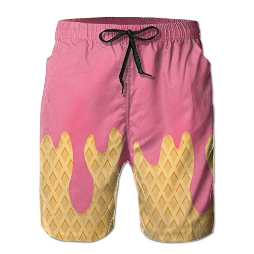 Desing shop Men's Swim Trunks Ice Cream Cone Convenient Board Shorts X-Large Small