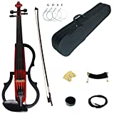 Kinglos 4/4 Red Colored Solid Wood Advanced 3-Band-EQ Electric/Silent Violin Kit with Ebony