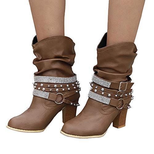 Stiefel Damen Boots Frauen Herbst Winter Stiefeletten Retro Shiny Boot Nieten Party Schuhe Halb Heel Martin Stiefel Schuhe Freizeitschuhe Boot ABsoar