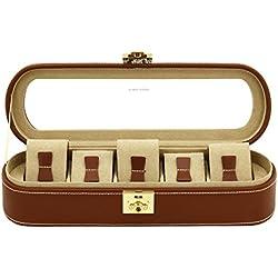 Friedrich Uhrenkasten mit Vitrine Aufbewahrungsbox für 5Uhren in echtem Leder Box