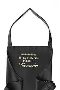 KringsFashion + CG Workwear Latzschürze 5-Sterne-Koch + Name oder Wunschbegriff, hochwertig bestickt, schwarz, Schürze und Stickerei deutsche Produktion;