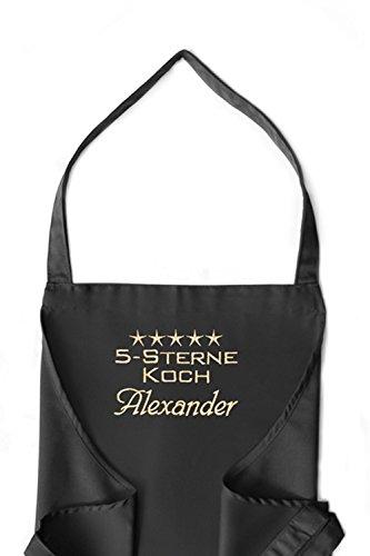 KringsFashion + CG Workwear Latzschürze 5-Sterne-Koch + Name oder Wunschbegriff, hochwertig bestickt, schwarz, Schürze und Stickerei deutsche Produktion; -