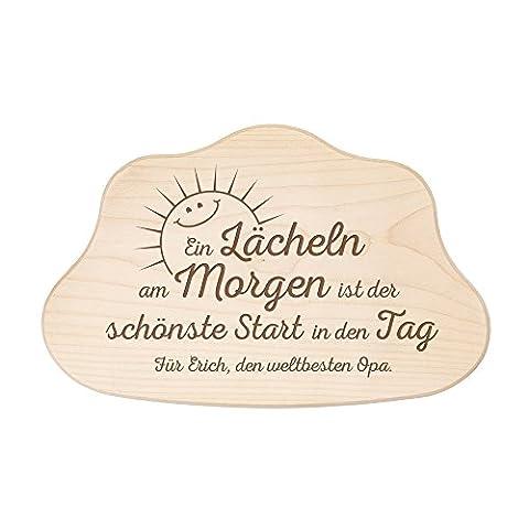 """Wolkenbrett aus Holz mit Gravur """" Ein Lächeln am Morgen"""" – Für den weltbesten Opa - Schneidebrett in Wolkenform – Personalisiert mit [NAMEN] – Frühstücksbrett – Graviertes Küchenbrett – Geburtstagsgeschenk-Geschenk für Opa"""