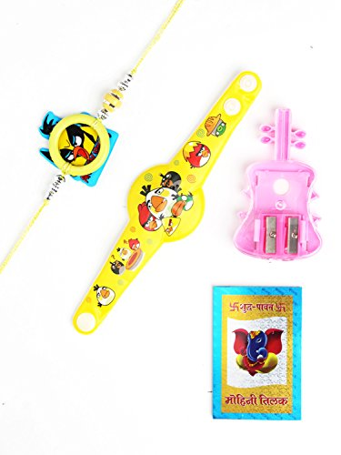 My Swag Angry Birds Flexible Strap Design Rakhi And sharpener Set of 2