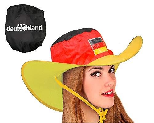 Atosa-24582 Atosa-24582-Gorro Cowboy Alemania Plegable-Mundial De Fútbol Y Deportes, Color Amarillo, Rojo y Negro (24582