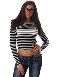 Jela London Damen Pullover mit Streifen in Feinrippoptik bauchfrei mit langen Ärmeln in Einheitsgröße (34-38)