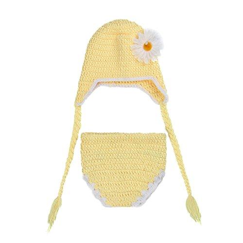 Zhuhaixmy Bebé Recién nacido Hecho a Mano Croché Flor Ropa De Punto Fotografía Photo Props Sombrero Pantalones Traje Regalo