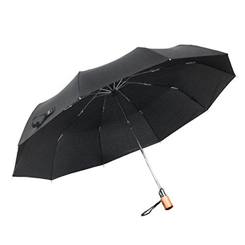10 Natur Offen Schließen Kompakt Falten Premium Legierung Verstärkt Winddicht Rahmen Wasserdicht Reise Regenschirm Holz Griff ,Black