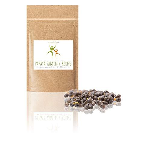 Bio Papaya Kerne/Samen - 100 g - natürlich schonend getrocknet - Papaya-Pfeffer ohne Zusatzstoffe - gluten- und laktosefreie Papaya-Samen - hoher Papain Gehalt - aromatisch - pfeffrig scharfes Aroma (Samen-enzym Papaya)