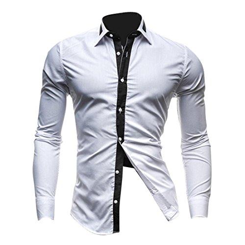 jeansian Herren Freizeit Hemden Shirt Tops Mode Langarmshirts Slim Fit 8700 White