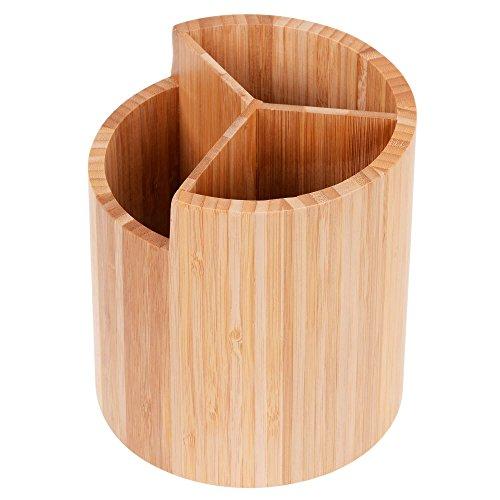 GRÄWE Besteckhalter aus Bambus, rund, Ø 16 cm - Kochlöffel-Ständer mit DREI Fächern