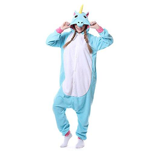 x Kostüm Anime TieMänner Frauen Unisex Einhorn Kostüm Erwachsene Overall Hausanzug Fastnachtskostuem Jumpsuit Tier Schlafanzug (Kostüme Für Männer Und Frauen)