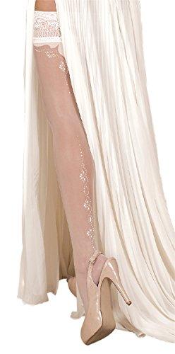 Unbekannt Ballerina Halterlose Strümpfe, weiss, mit Muster, Strapsoptik   Hochzeitsstrümpfe Größe Large/X-Large
