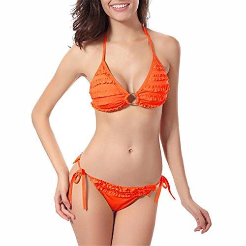 Preisvergleich Produktbild hansee Frauen Solid Plissee Bikini Set Bademode Push-up Tie Side Badeanzug Beachwear, damen Mädchen, Fn-0814, Orange