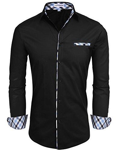 Hotouch uomo camicie nero basic slim fit maniche lunghe di cotone modell