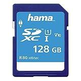 Hama 128 GB SDXC-Speicherkarte, Class 10, V10, UHS-I (bis zu 80MB/s, für Full-HD- und 3D-Video-Aufnahmen, z.B. Digitalkamera, Camcorder, Videokamera, mit Schreibschutz) SDXC-Card