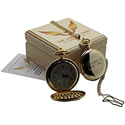 Syd Barrett Signed Pink Floyd Gold Pocket Watch 24 Carat Gold Coated Full Hunter with Chain Luxury Gift Case