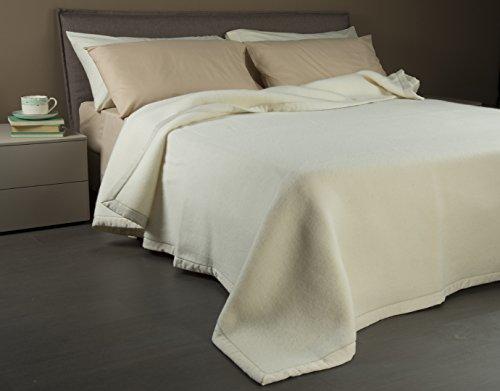 Coperta matrimoniale beige in 100% pura lana vergine lambswool - marchio woolmark