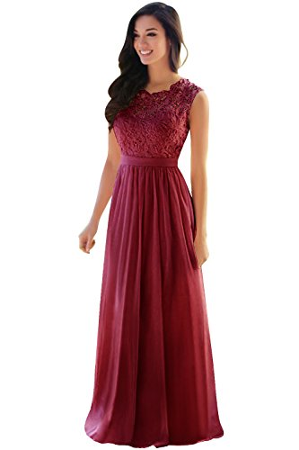Babyonline® Damen Kleid Festliche Kleider Brautjungfer Hochzeit Cocktailkleid Chiffon Faltenrock Elegant Langes Abendkleid Wein Rot