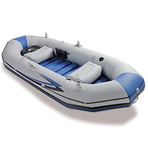 Kanqingqing Kajak Berufsseemann-Gummirudersport-Fischerboot des Schlauchboot-DREI, zum der Paddel-Handpumpe/des Graus zu senden (Farbe : Grau, Größe : 297x127x46CM)
