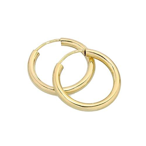 NKlaus PAAR 585 gelb Gold CREOLE Ohrringe Ohrschmuck rund Goldohrringe 20mm 1853
