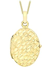 Carissima Gold Women's 9 ct Yellow Gold Diamond Cut Oval Locket Pendant on Curb Chain Necklace of Length 46 cm