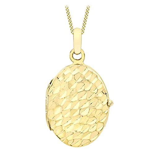 Carissima Gold Women's 9 ct Yellow Gold Diamond Cut Oval Locket Pendant on Curb Chain Necklace of Length 46 cm QwAKAvlFq