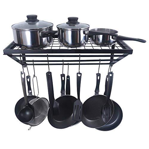 Scaffale da Cucina, Greyghost Porta Utensili da Cucina, Mensola a Muro per Pentole con 10 Ganci a S, 61 * 30 cm, Nero