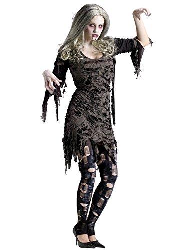 Generique - Halloween Zombie Kostüm grau für Damen S / ()