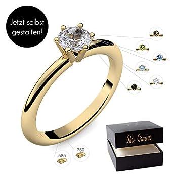 Verlobungsring Gold 585 750 PERSONALISIERT + ETUI mit individueller GRAVUR Damen-Ring Heiratsantrag Solitär-Ring Zirkonia Aquamarin Turmalin Blautopas Peridot Rauchquarz