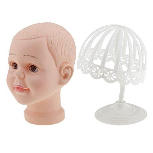 perfk Tête Mannequine Bébé Tête Modèle Enfant Support Stand en Plastique Présentoir de Perruque Chapeaux Casquettes Enfants