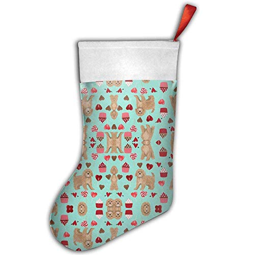 Kaixin J Classic Cavoodle Valentines Day Cute Cavapoo Pattern Teal Personalized Christmas Stocking Christmas Sock - Fun Colorful Festive