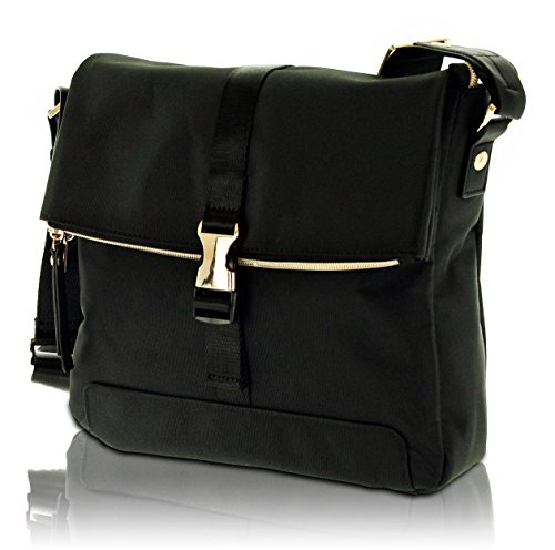 BUGATTI Contratempo - kleine Damen Umhängetasche, Schultertasche aus hochwertigem Nylon, Tasche mit glänzenden Gold-Accessoires, schwarz