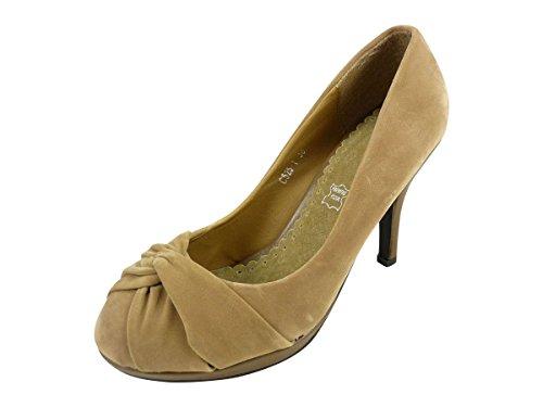 Schuhe Pumps Damen zu Schleife flach und High Heels Wildlederimitat Taupe
