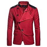 Herren unregelmäßige Kragen Design Fashion Jacket Blazer(L,Rot)