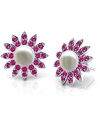 ONECK Ohrringe Damen Kette Schmuck 925 Sterling Silber kleine Perlen Kristall 5A Zirkonia Halskette mit Sonnenblume Anhänger Kettenlänge 45CM mit exquisite Geschenk-Box