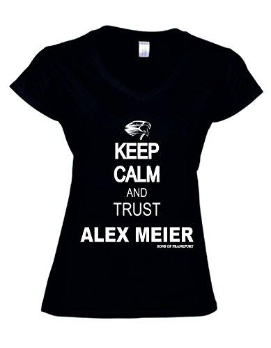 Mi Barrio Keep Calm. Ladies T-Shirt, Schwarz, Größe XXL