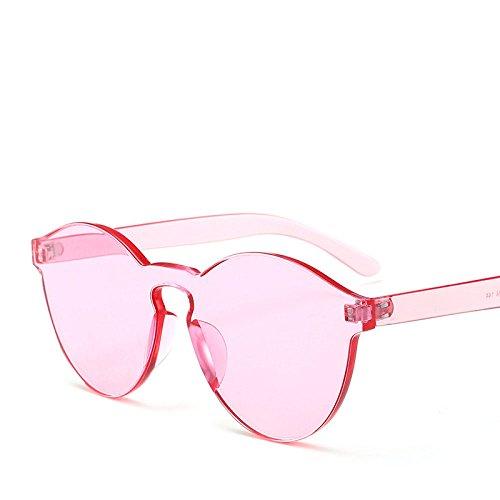 PDYCD Einfach Sonnenbrille Europäisch Bonbon Rahmenlos Siam Gelee Transparent Einteilig Farbe Trend Damen Joker Sonnenschirm,Pink