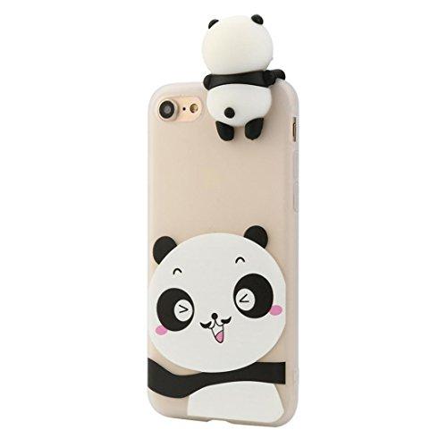 Cover per iPhone 7, Tpulling Custodia per iPhone 7 Case Cover Gli animali neri svegli del fumetto dellanimale 3D coprono la cassa molle del silicone per IPhone 7 4.7 pollici (C) B