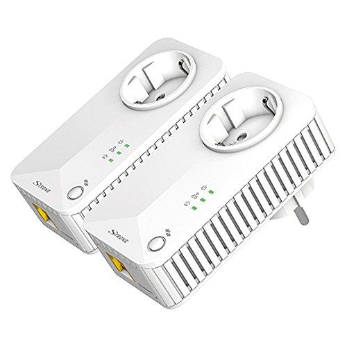 STRONG Powerline 500 Kit Netzwerkadapter (bis 500 Mbit/S, integrierte Steckdose, Fast-Ethernet-LAN, Powerlan) Weiß