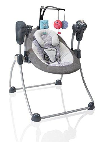 Babymoov Babyschaukel Swoon Bubble Zink - Schaukel/ Wippe für Babys, 8 Schlaflieder, Rückenlehne in 2 Positionen verstellbar, inkl. Timer