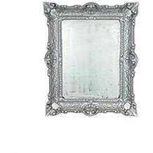espejo tocador plateado marco estilo barroco artificial vintage color plateado