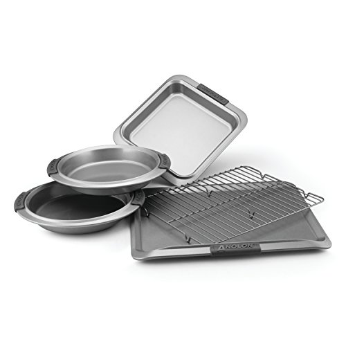 Anolon Advanced Nonstick Bakeware 5-Piece Bakeware Set with Silicone Grips, Gray Anolon Non Stick Pan